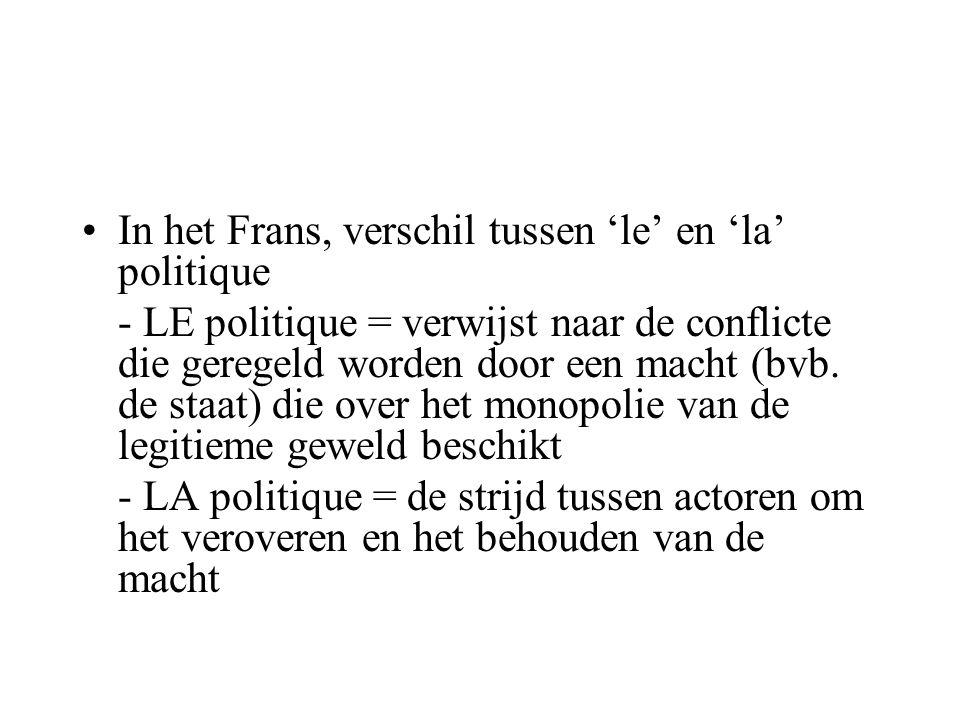 •In het Frans, verschil tussen 'le' en 'la' politique - LE politique = verwijst naar de conflicte die geregeld worden door een macht (bvb.
