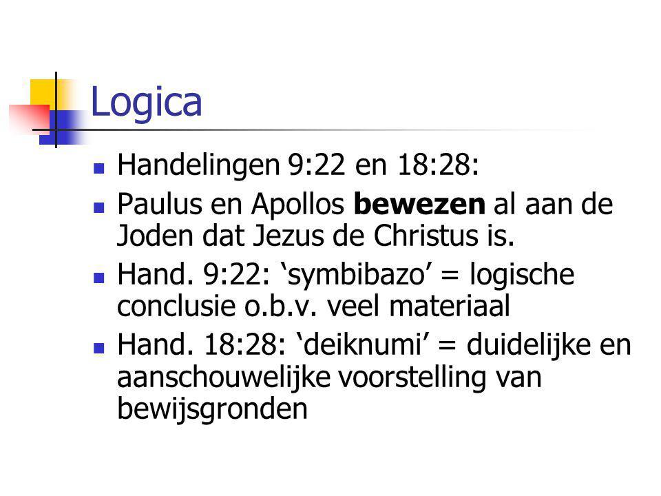 Logica  Handelingen 9:22 en 18:28:  Paulus en Apollos bewezen al aan de Joden dat Jezus de Christus is.  Hand. 9:22: 'symbibazo' = logische conclus