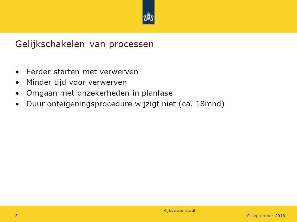 Rijkswaterstaat 510 september 2013 Gelijkschakelen van processen •Eerder starten met verwerven •Minder tijd voor verwerven •Omgaan met onzekerheden in