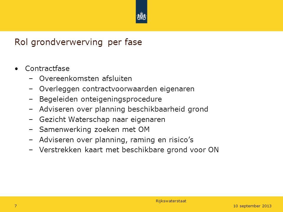Rijkswaterstaat 710 september 2013 Rol grondverwerving per fase •Contractfase –Overeenkomsten afsluiten –Overleggen contractvoorwaarden eigenaren –Beg