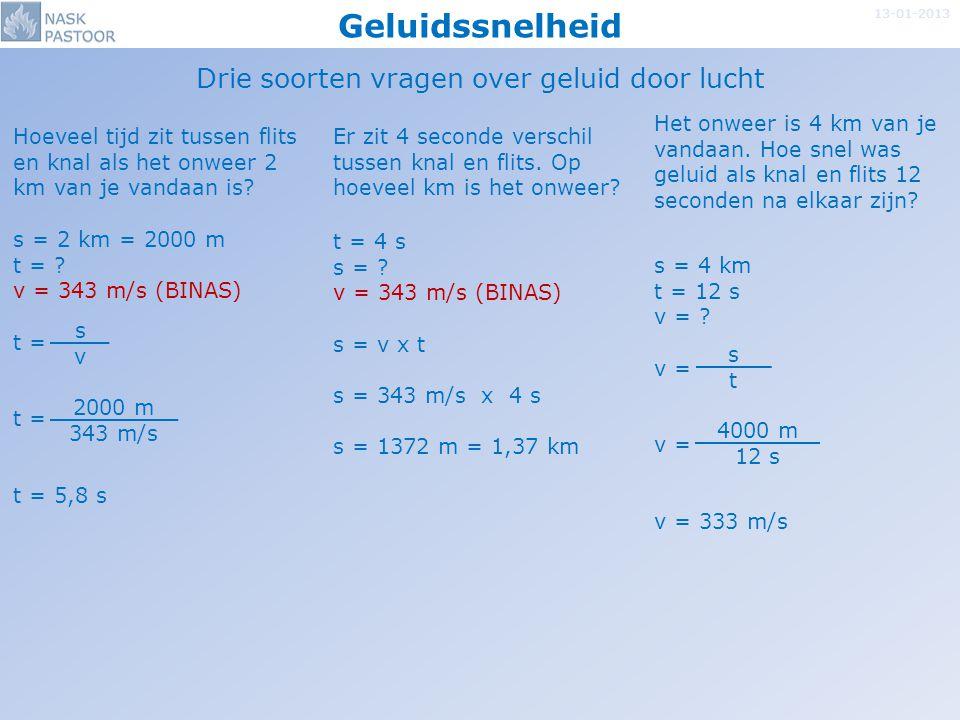Geluidssnelheid 13-01-2013 Drie soorten vragen over geluid door lucht t = 4 s s = ? v = 343 m/s (BINAS) s = v x t s = 343 m/s x 4 s s = 1372 m = 1,37
