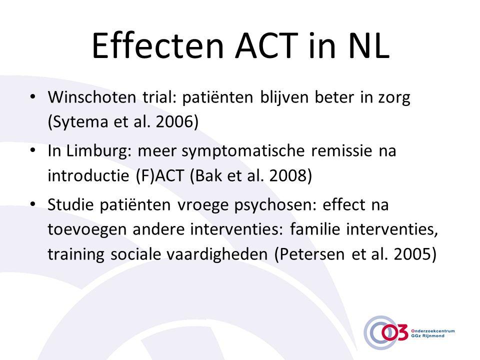 Effecten ACT in NL • Winschoten trial: patiënten blijven beter in zorg (Sytema et al. 2006) • In Limburg: meer symptomatische remissie na introductie