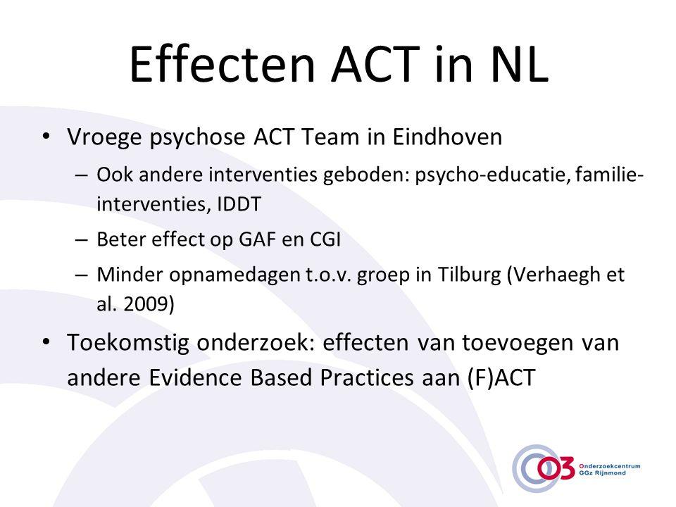 Effecten ACT in NL • Vroege psychose ACT Team in Eindhoven – Ook andere interventies geboden: psycho-educatie, familie- interventies, IDDT – Beter eff