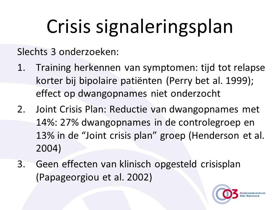 Crisis signaleringsplan Slechts 3 onderzoeken: 1.Training herkennen van symptomen: tijd tot relapse korter bij bipolaire patiënten (Perry bet al. 1999