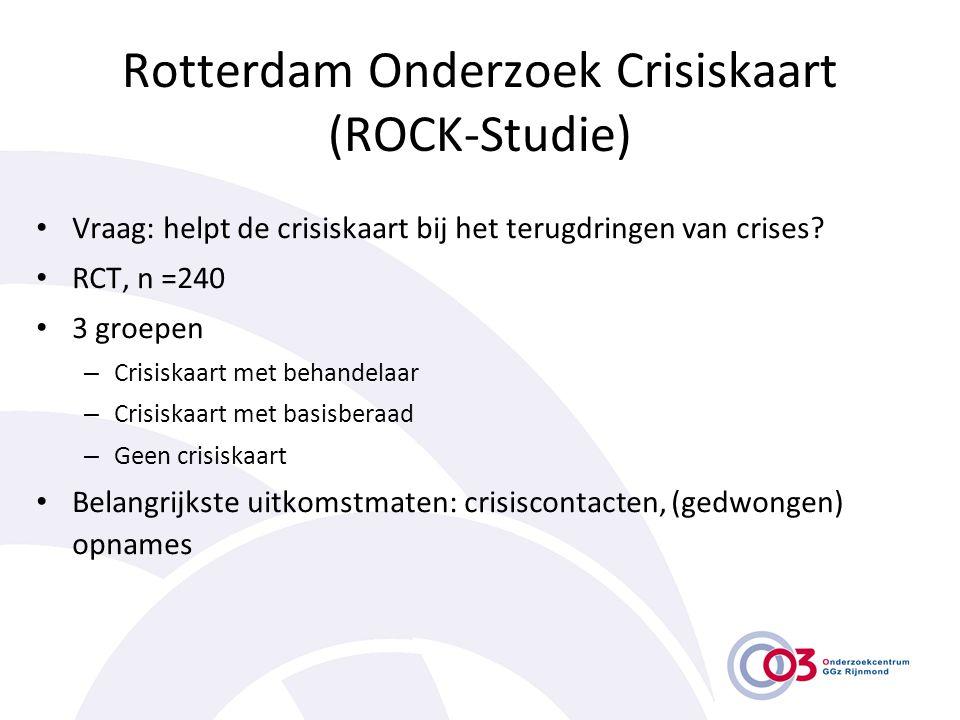 Rotterdam Onderzoek Crisiskaart (ROCK-Studie) • Vraag: helpt de crisiskaart bij het terugdringen van crises? • RCT, n =240 • 3 groepen – Crisiskaart m