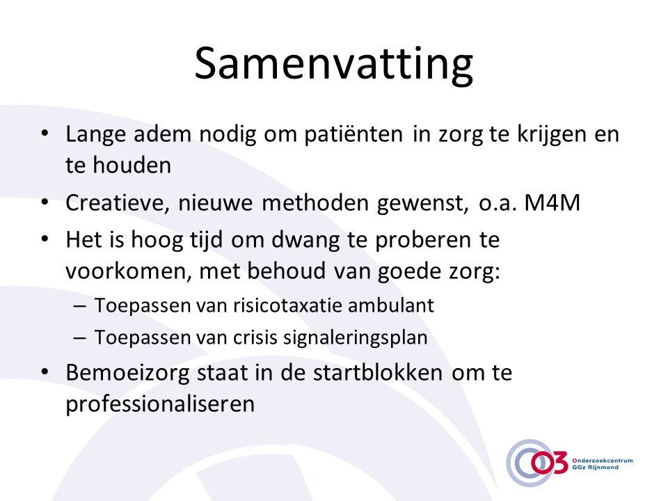 Samenvatting • Lange adem nodig om patiënten in zorg te krijgen en te houden • Creatieve, nieuwe methoden gewenst, o.a. M4M • Het is hoog tijd om dwan