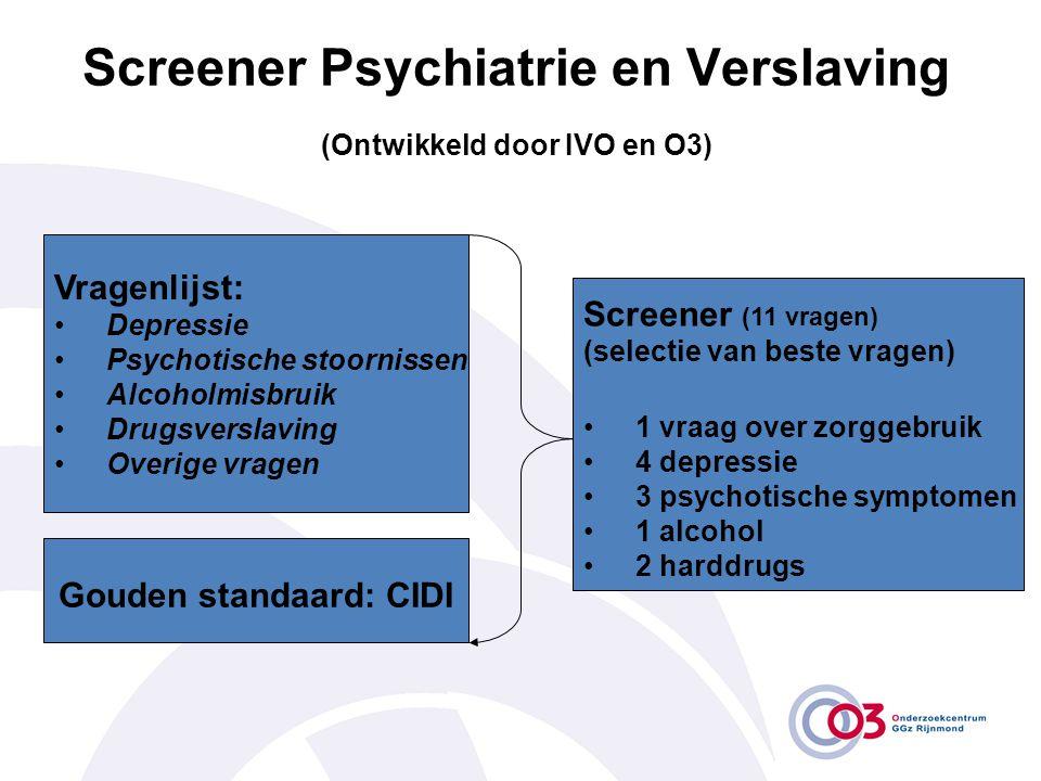 Screener Psychiatrie en Verslaving (Ontwikkeld door IVO en O3) Screener (11 vragen) (selectie van beste vragen) •1 vraag over zorggebruik •4 depressie