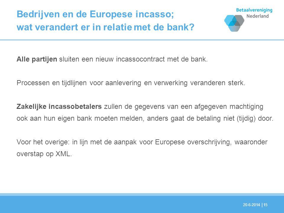 | Bedrijven en de Europese incasso; wat verandert er in relatie met de bank? Alle partijen sluiten een nieuw incassocontract met de bank. Processen en