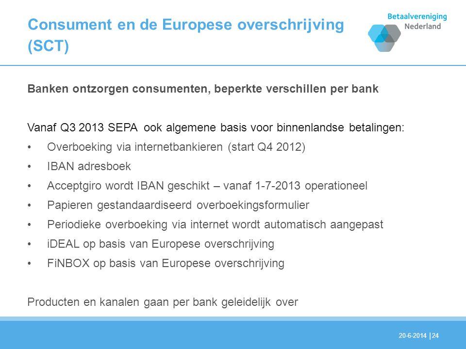 | Consument en de Europese overschrijving (SCT) 24 Banken ontzorgen consumenten, beperkte verschillen per bank Vanaf Q3 2013 SEPA ook algemene basis v