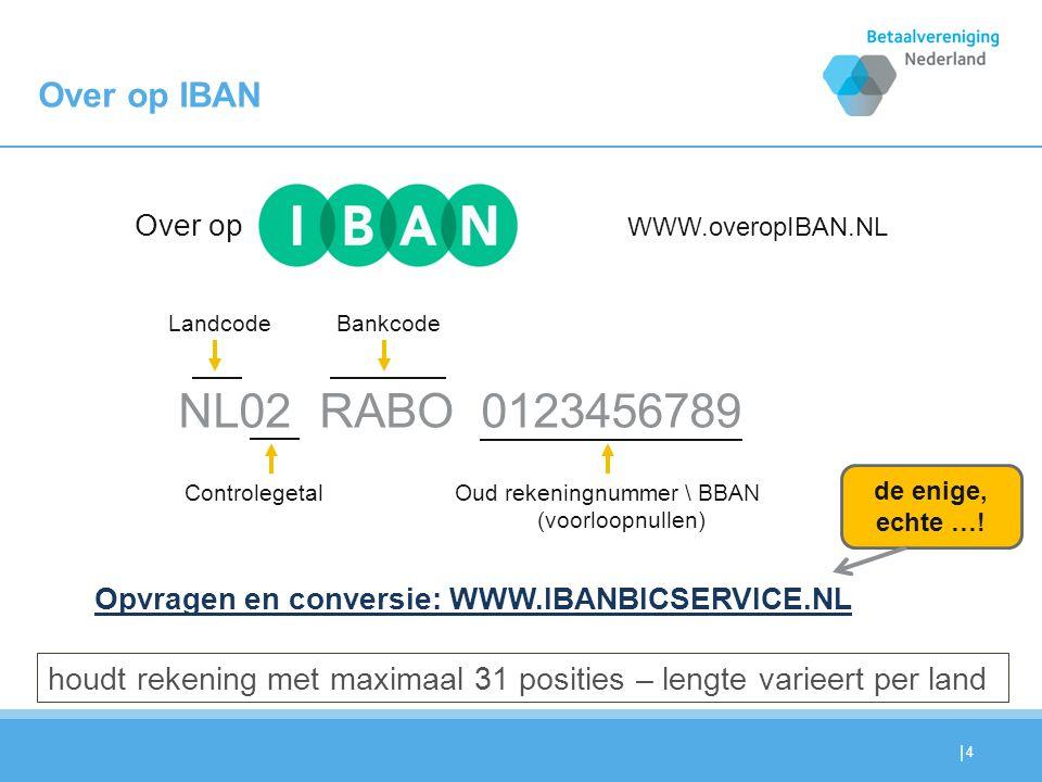 | 4 Over op IBAN NL02 RABO 0123456789 Landcode Controlegetal Bankcode Oud rekeningnummer \ BBAN (voorloopnullen) Over op Opvragen en conversie: WWW.IB