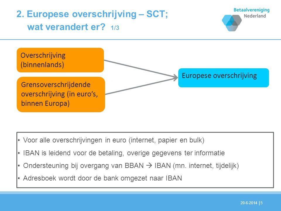 | 2. Europese overschrijving – SCT; wat verandert er? 1/3 20-6-20145 Overschrijving (binnenlands) Grensoverschrijdende overschrijving (in euro's, binn