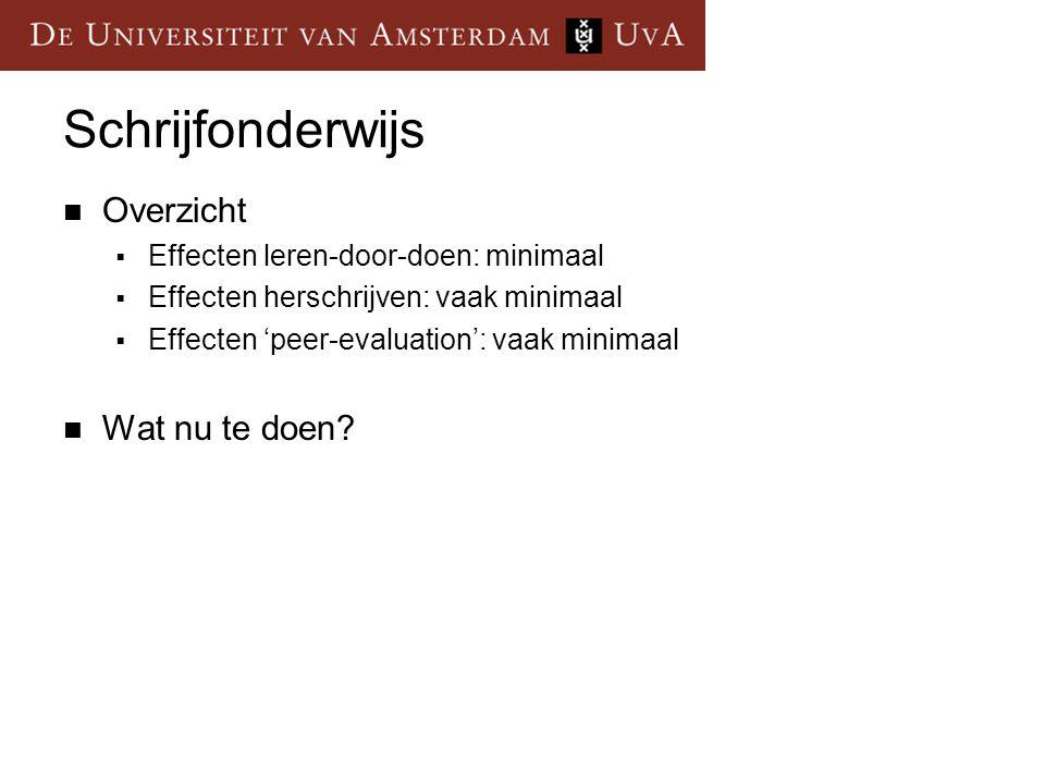 Schrijfonderwijs  Overzicht  Effecten leren-door-doen: minimaal  Effecten herschrijven: vaak minimaal  Effecten 'peer-evaluation': vaak minimaal 