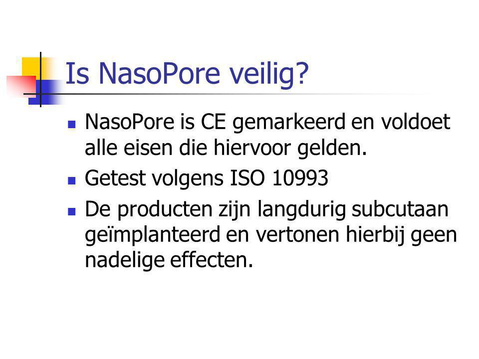 Is NasoPore veilig. NasoPore is CE gemarkeerd en voldoet alle eisen die hiervoor gelden.