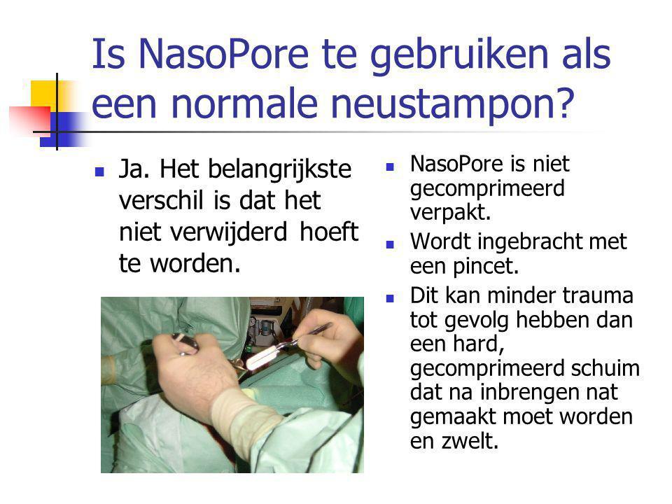 Is NasoPore te gebruiken als een normale neustampon.