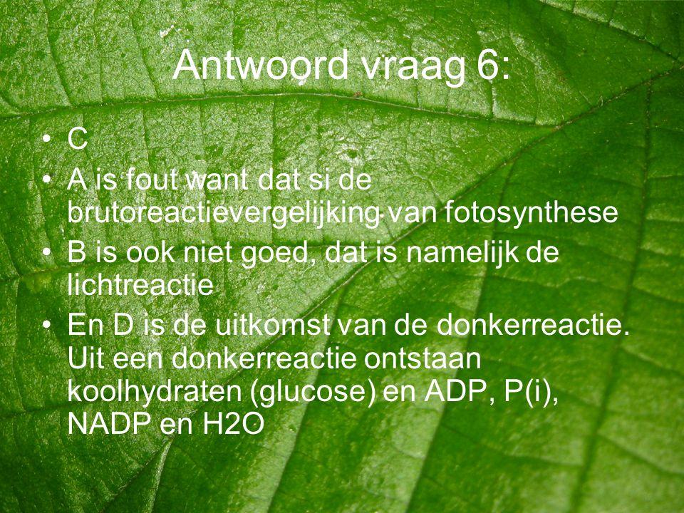 Antwoord vraag 6: •C •A is fout want dat si de brutoreactievergelijking van fotosynthese •B is ook niet goed, dat is namelijk de lichtreactie •En D is