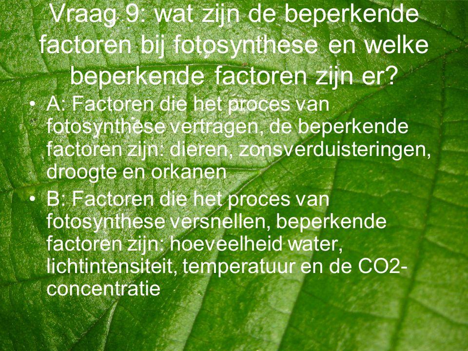 Vraag 9: wat zijn de beperkende factoren bij fotosynthese en welke beperkende factoren zijn er? •A: Factoren die het proces van fotosynthese vertragen