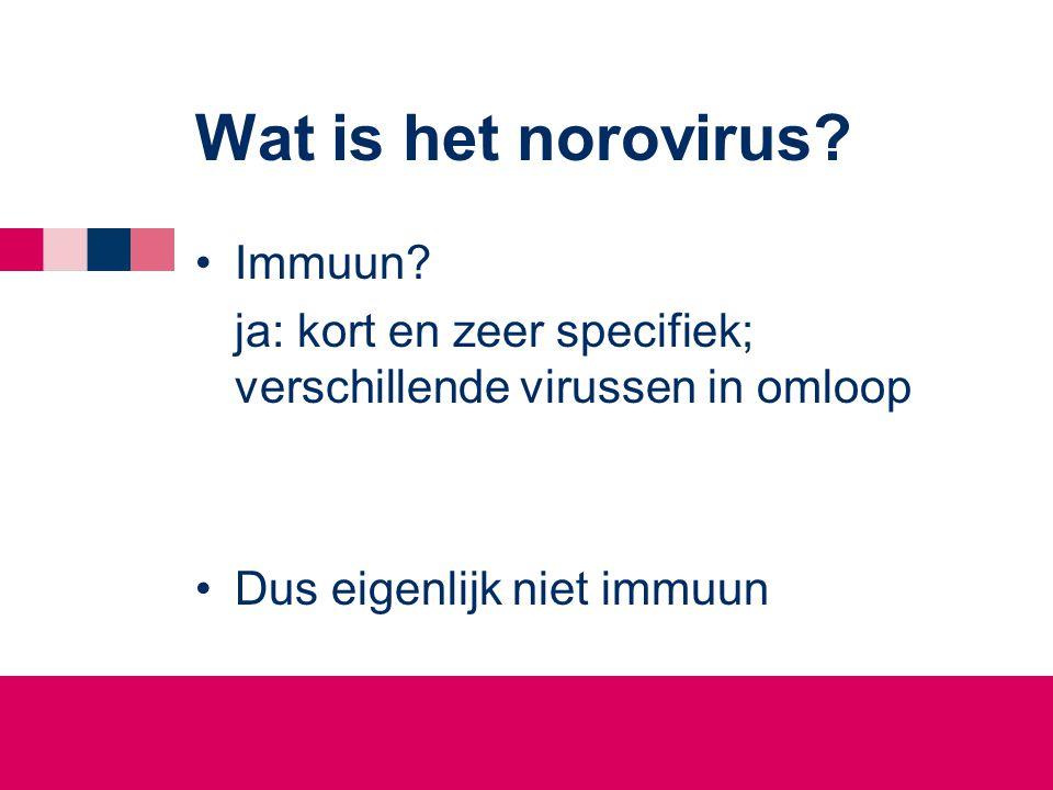 Wat is het norovirus.•Immuun.