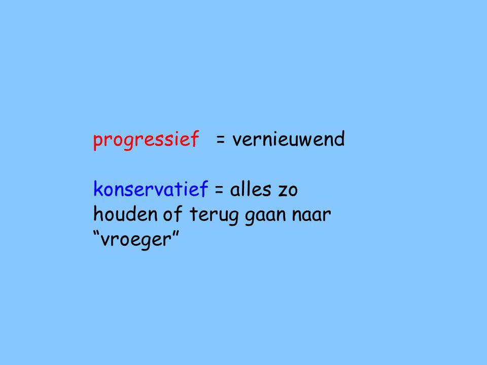 progressief en konservatief: Let op: konservatief met een k.