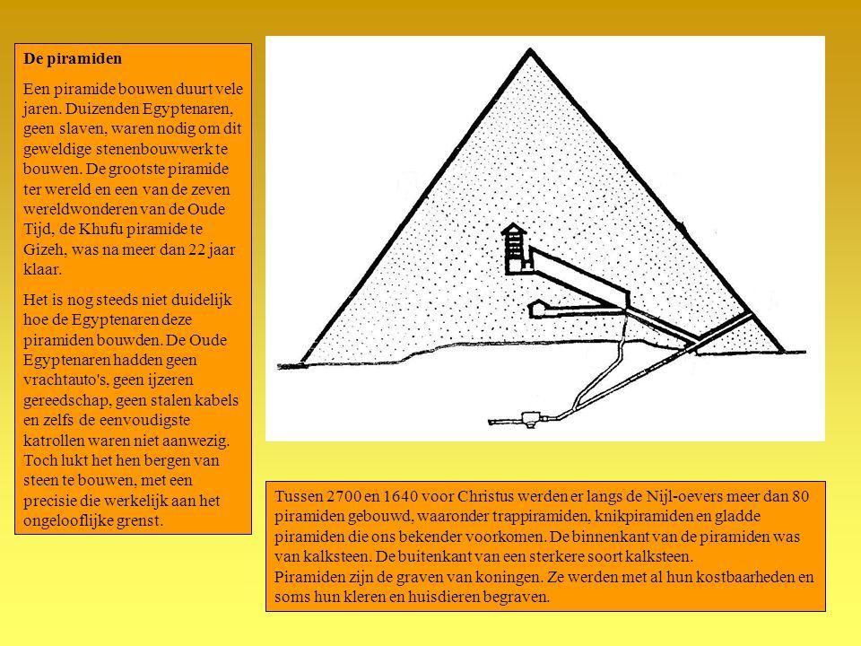 Tussen 2700 en 1640 voor Christus werden er langs de Nijl-oevers meer dan 80 piramiden gebouwd, waaronder trappiramiden, knikpiramiden en gladde piram