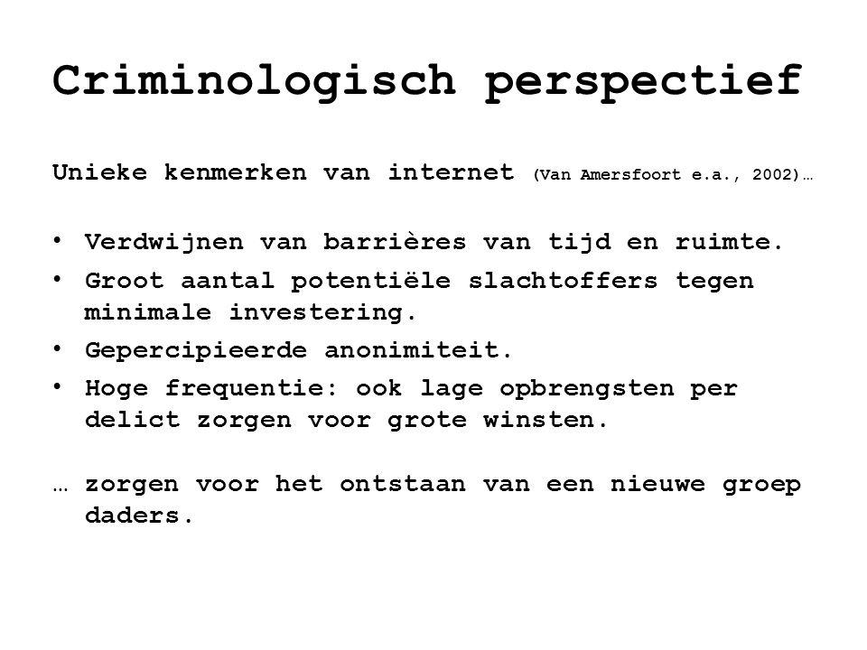 Criminologisch perspectief Unieke kenmerken van internet (Van Amersfoort e.a., 2002)… • Verdwijnen van barrières van tijd en ruimte. • Groot aantal po