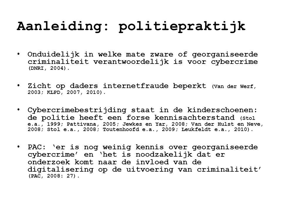 Aanleiding: politiepraktijk • Onduidelijk in welke mate zware of georganiseerde criminaliteit verantwoordelijk is voor cybercrime (DNRI, 2004).