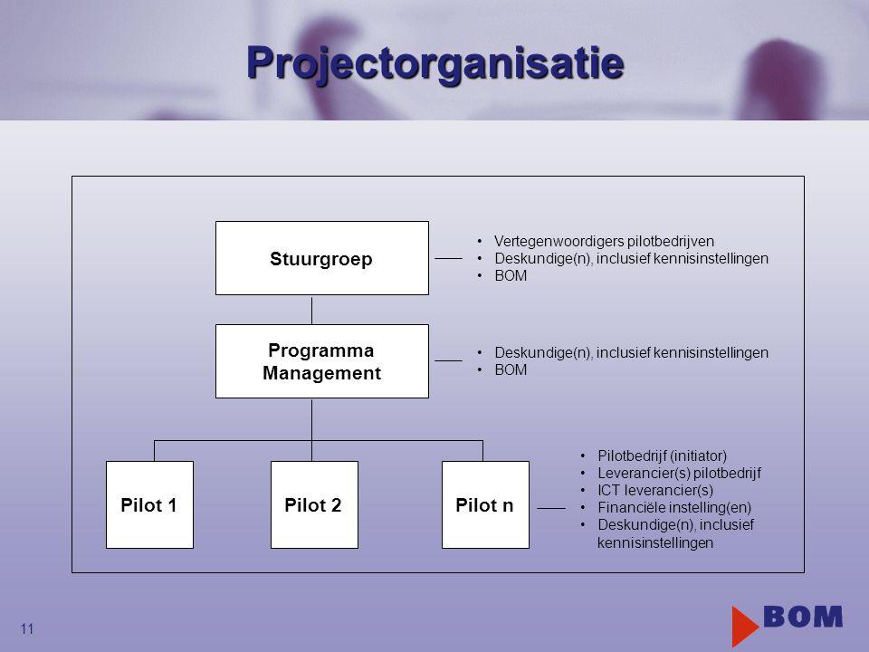 11Projectorganisatie Programma Management Stuurgroep Pilot 1Pilot 2Pilot n •Vertegenwoordigers pilotbedrijven •Deskundige(n), inclusief kennisinstellingen •BOM •Deskundige(n), inclusief kennisinstellingen •BOM •Pilotbedrijf (initiator) •Leverancier(s) pilotbedrijf •ICT leverancier(s) •Financiële instelling(en) •Deskundige(n), inclusief kennisinstellingen