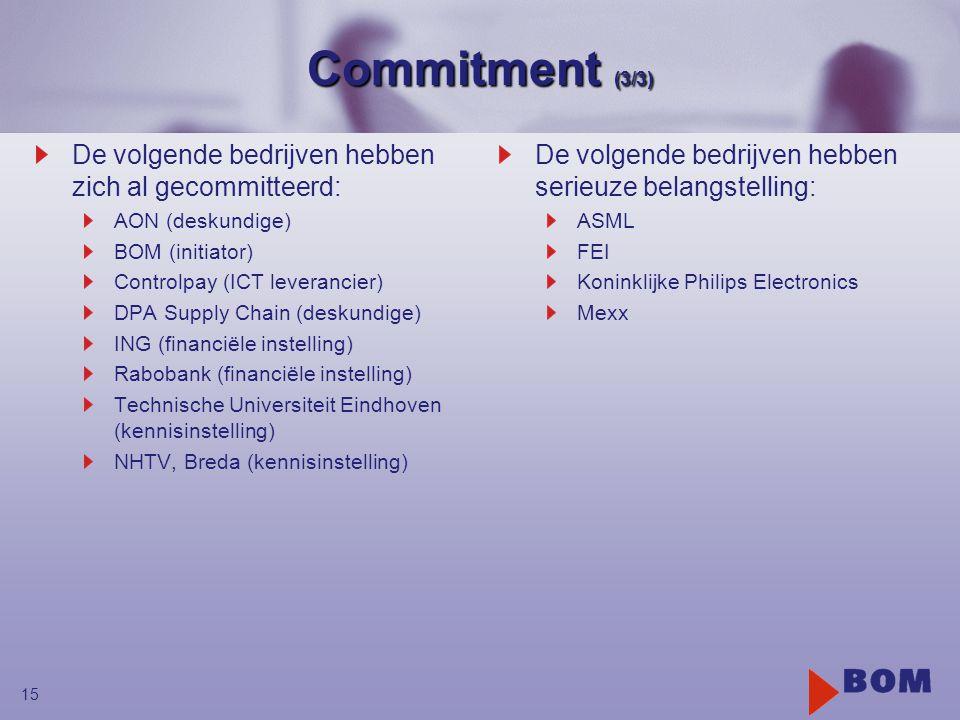 15 Commitment (3/3) De volgende bedrijven hebben zich al gecommitteerd: AON (deskundige) BOM (initiator) Controlpay (ICT leverancier) DPA Supply Chain