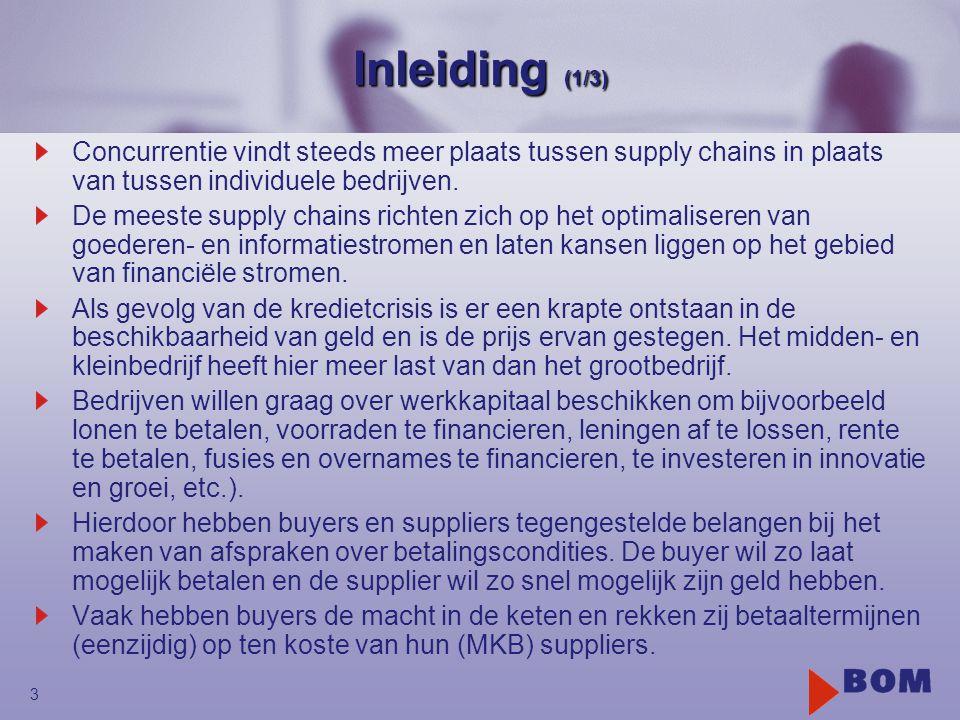 3 Inleiding (1/3) Concurrentie vindt steeds meer plaats tussen supply chains in plaats van tussen individuele bedrijven. De meeste supply chains richt