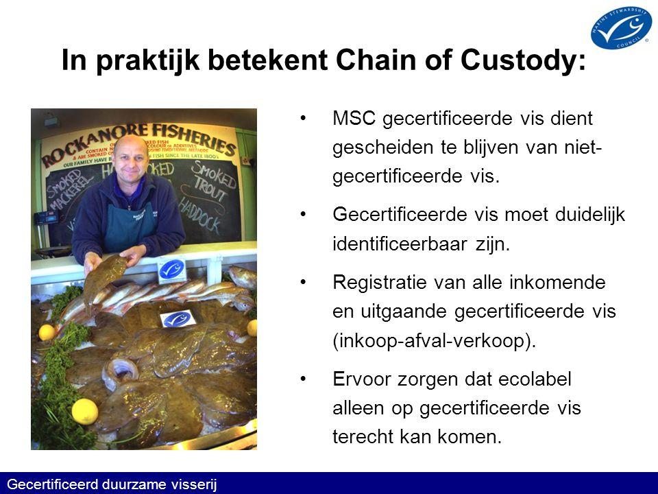 Gecertificeerd duurzame visserij In praktijk betekent Chain of Custody: •MSC gecertificeerde vis dient gescheiden te blijven van niet- gecertificeerde vis.