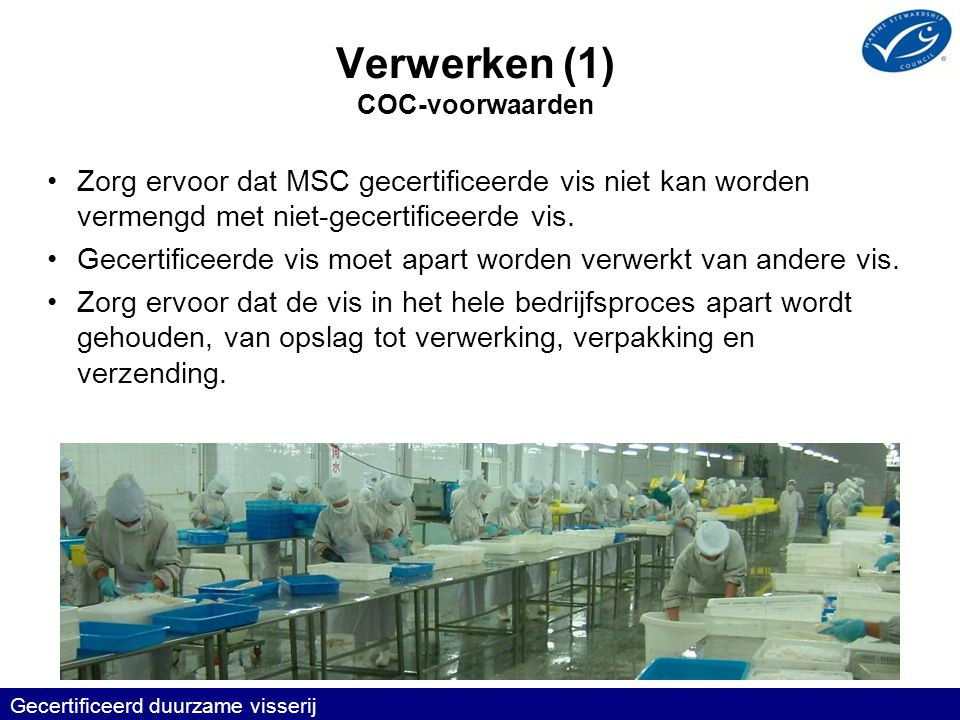 Verwerken (1) COC-voorwaarden •Zorg ervoor dat MSC gecertificeerde vis niet kan worden vermengd met niet-gecertificeerde vis.