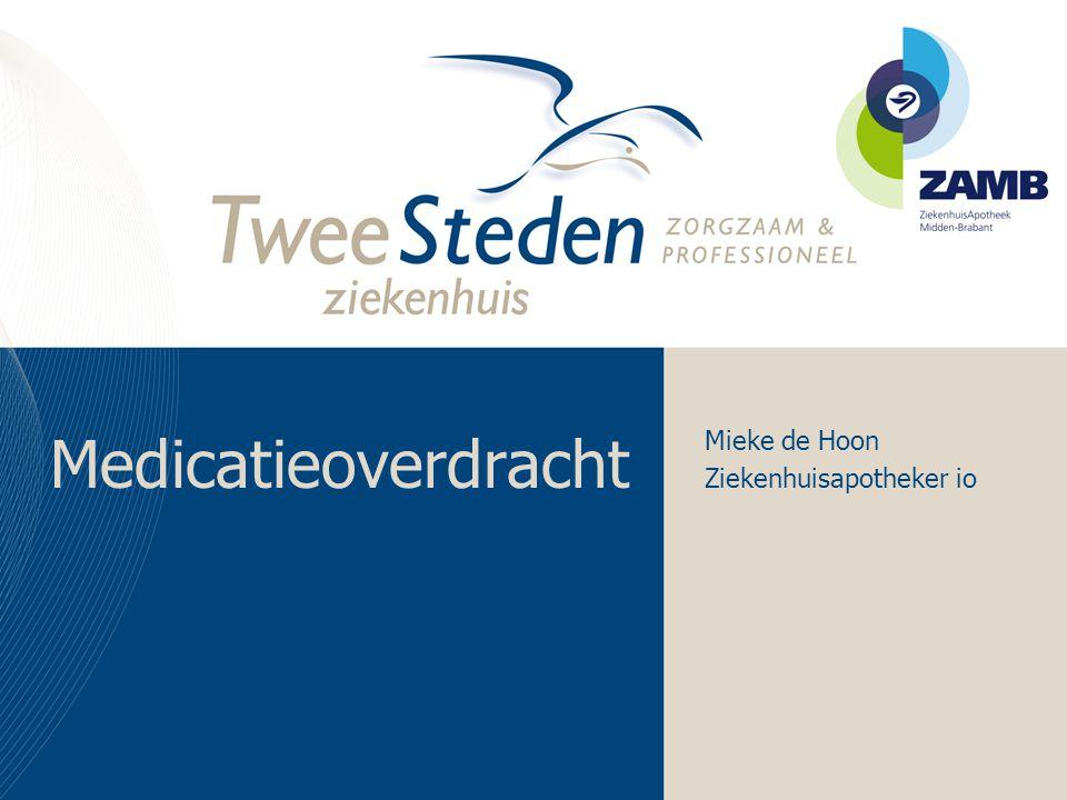 Medicatieverificatie •Actuele medicatie –Frequentie –Dosering –Tijdstip/dag van inname •Medicatie gestaakt voor opname door anesthesist.