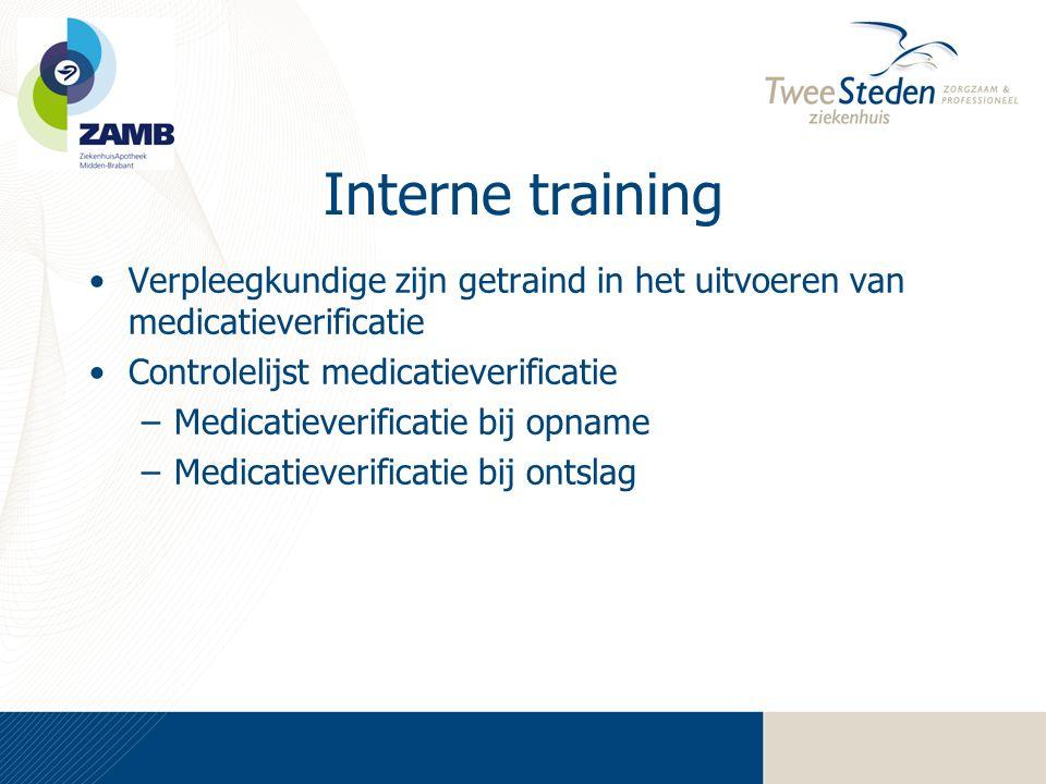 Interne training •Verpleegkundige zijn getraind in het uitvoeren van medicatieverificatie •Controlelijst medicatieverificatie –Medicatieverificatie bi