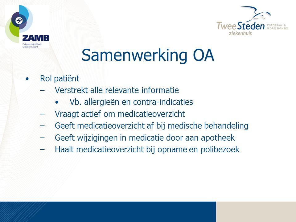 Samenwerking OA •Rol patiënt –Verstrekt alle relevante informatie •Vb. allergieën en contra-indicaties –Vraagt actief om medicatieoverzicht –Geeft med