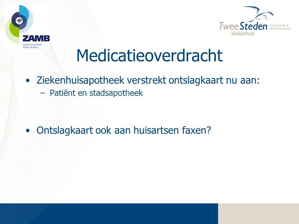 Medicatieoverdracht •Ziekenhuisapotheek verstrekt ontslagkaart nu aan: –Patiënt en stadsapotheek •Ontslagkaart ook aan huisartsen faxen?