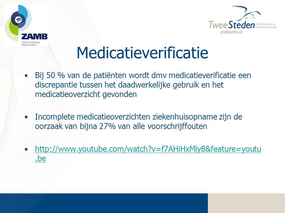 Medicatieverificatie •Bij 50 % van de patiënten wordt dmv medicatieverificatie een discrepantie tussen het daadwerkelijke gebruik en het medicatieover