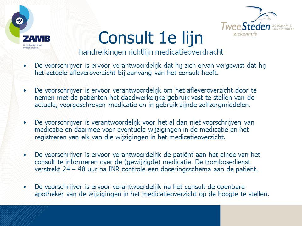 Consult 1e lijn handreikingen richtlijn medicatieoverdracht •De voorschrijver is ervoor verantwoordelijk dat hij zich ervan vergewist dat hij het actu