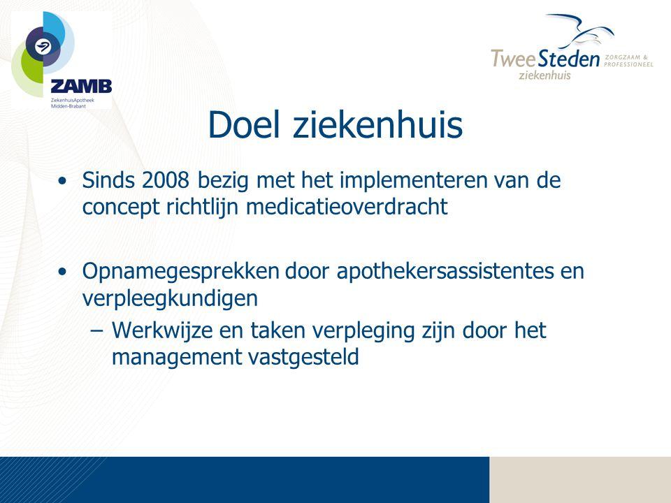 Doel ziekenhuis •Sinds 2008 bezig met het implementeren van de concept richtlijn medicatieoverdracht •Opnamegesprekken door apothekersassistentes en v