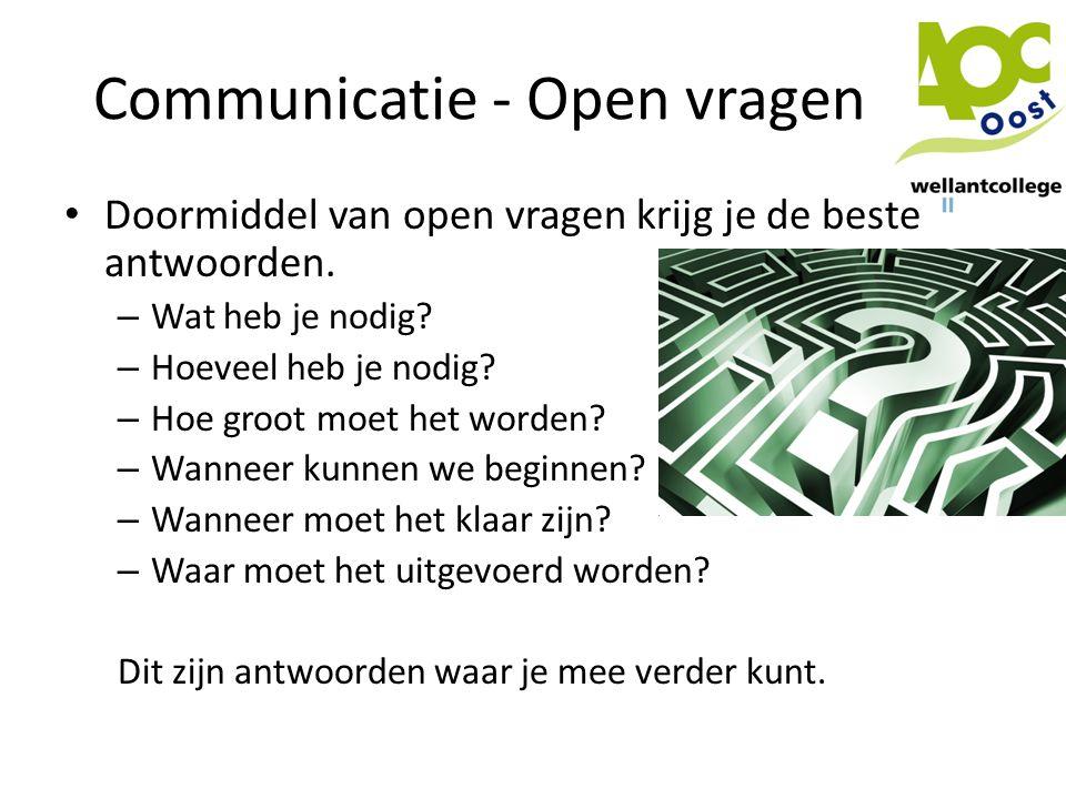 Communicatie - Open vragen • Doormiddel van open vragen krijg je de beste antwoorden. – Wat heb je nodig? – Hoeveel heb je nodig? – Hoe groot moet het