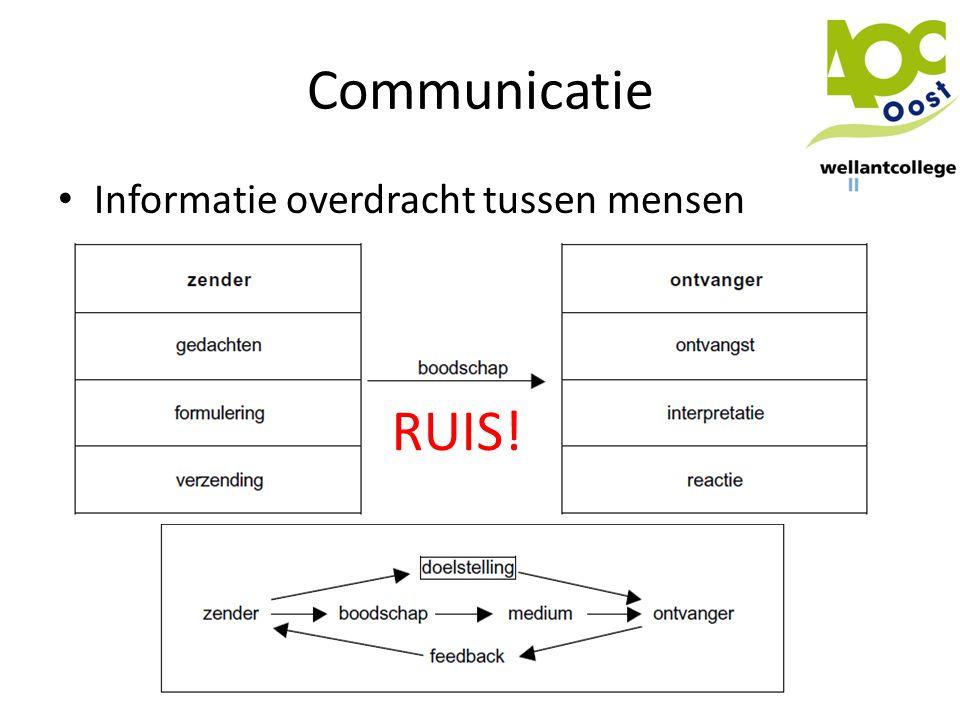 Communicatie • Informatie overdracht tussen mensen RUIS!