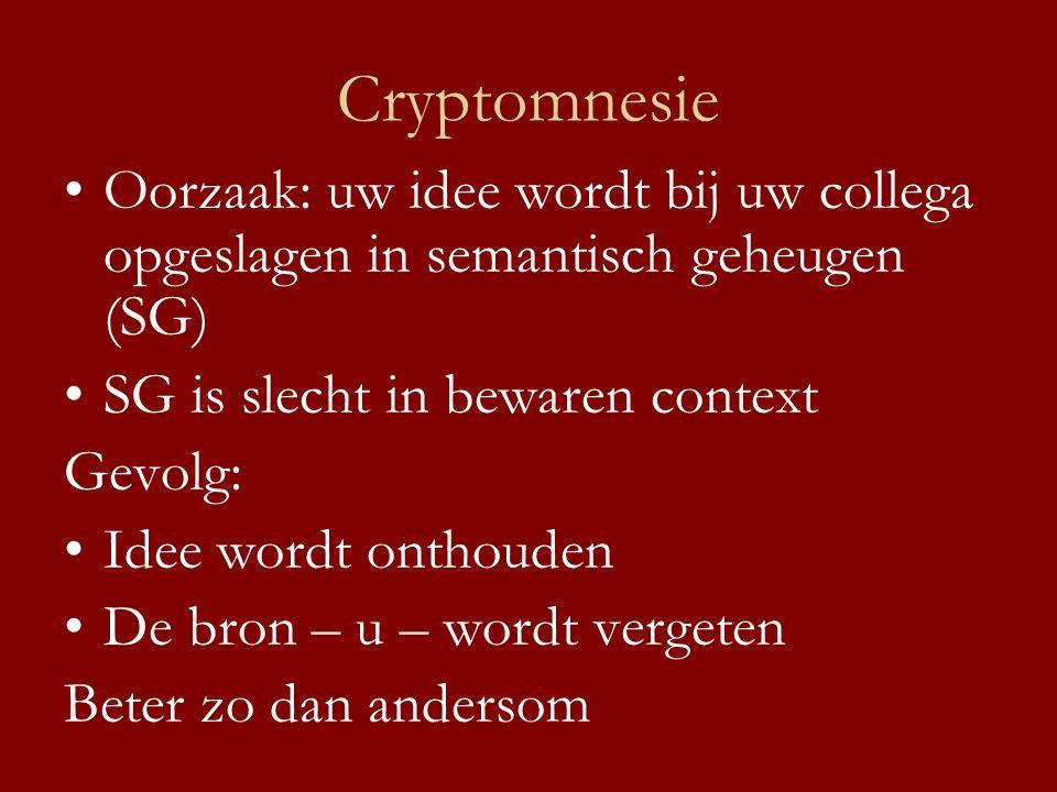 Cryptomnesie •Oorzaak: uw idee wordt bij uw collega opgeslagen in semantisch geheugen (SG) •SG is slecht in bewaren context Gevolg: •Idee wordt onthou