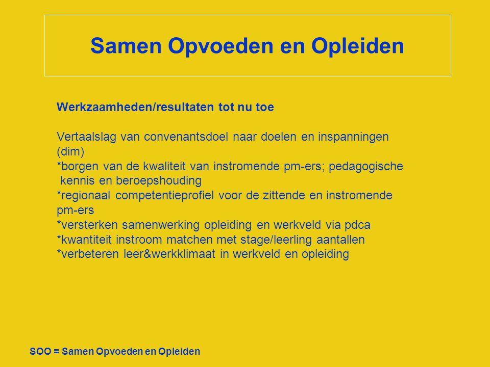 Samen Opvoeden en Opleiden SOO = Samen Opvoeden en Opleiden Werkzaamheden/resultaten tot nu toe Vertaalslag van convenantsdoel naar doelen en inspanni
