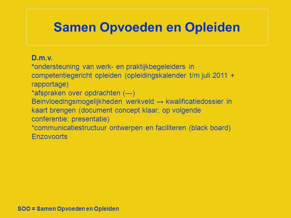 Samen Opvoeden en Opleiden SOO = Samen Opvoeden en Opleiden D.m.v. *ondersteuning van werk- en praktijkbegeleiders in competentiegericht opleiden (opl
