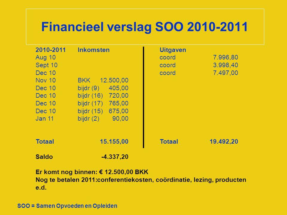 Financieel verslag SOO 2010-2011 SOO = Samen Opvoeden en Opleiden 2010-2011InkomstenUitgaven Aug 10coord7.996,80 Sept 10coord3.998,40 Dec 10coord7.497