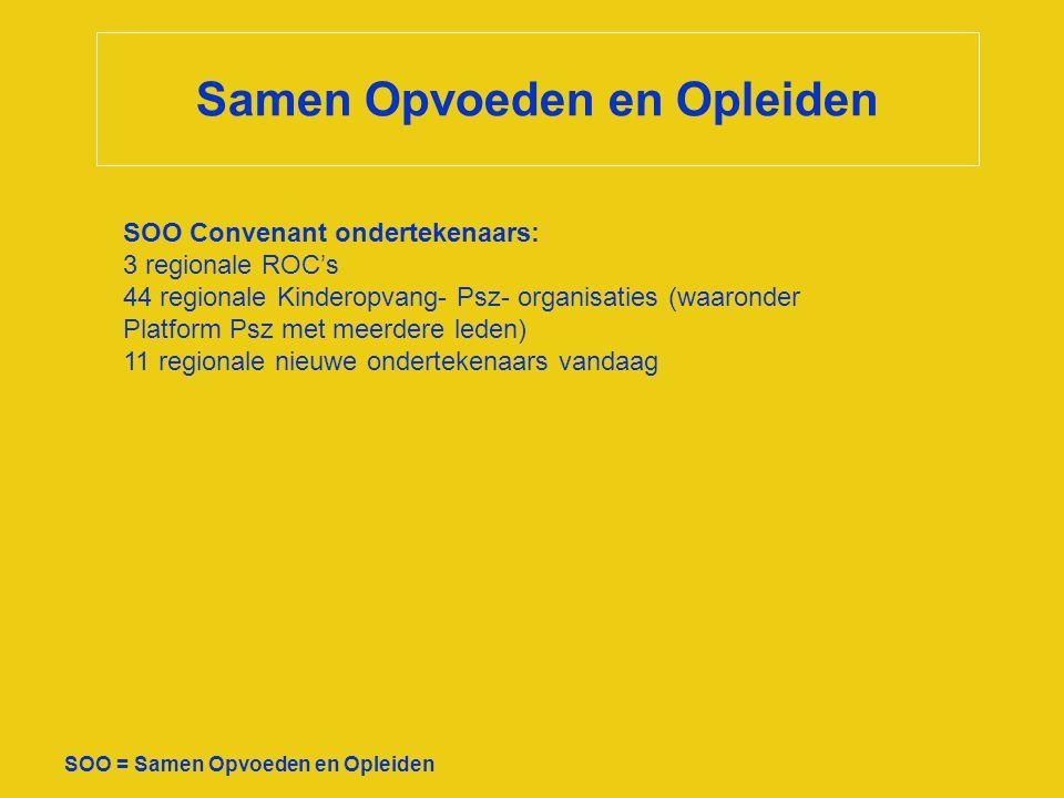 Samen Opvoeden en Opleiden SOO = Samen Opvoeden en Opleiden Ondersteuner/coördinator: - Marietje Geverink van Bureau Beter Werk, coördinator - Jolande van der Burgh, ondersteuner Calibris - Marjon van Egmond, ondersteuner Calibris Stuurgroep: leden/vacatures - ROC Amsterdam: Nicasia Menting (vervanging: Miriam Snoek) - ROC Asa: Arend Jan van Binsbergen - ROC Midden Nl: Arie Leenman - Catharina Boonstra KO/psz gr - Ans van Hoof KO/psz gr - Nina Hoogenboom KO/psz kl -Jeroen Oskam (vervanging/vacature) KO/psz kl - Machteld Rietman KO/psz gr - Rachel van Tergouw KO/psz gr