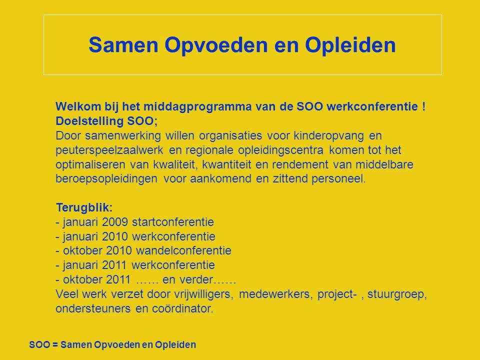 Samen Opvoeden en Opleiden SOO = Samen Opvoeden en Opleiden Welkom bij het middagprogramma van de SOO werkconferentie ! Doelstelling SOO; Door samenwe
