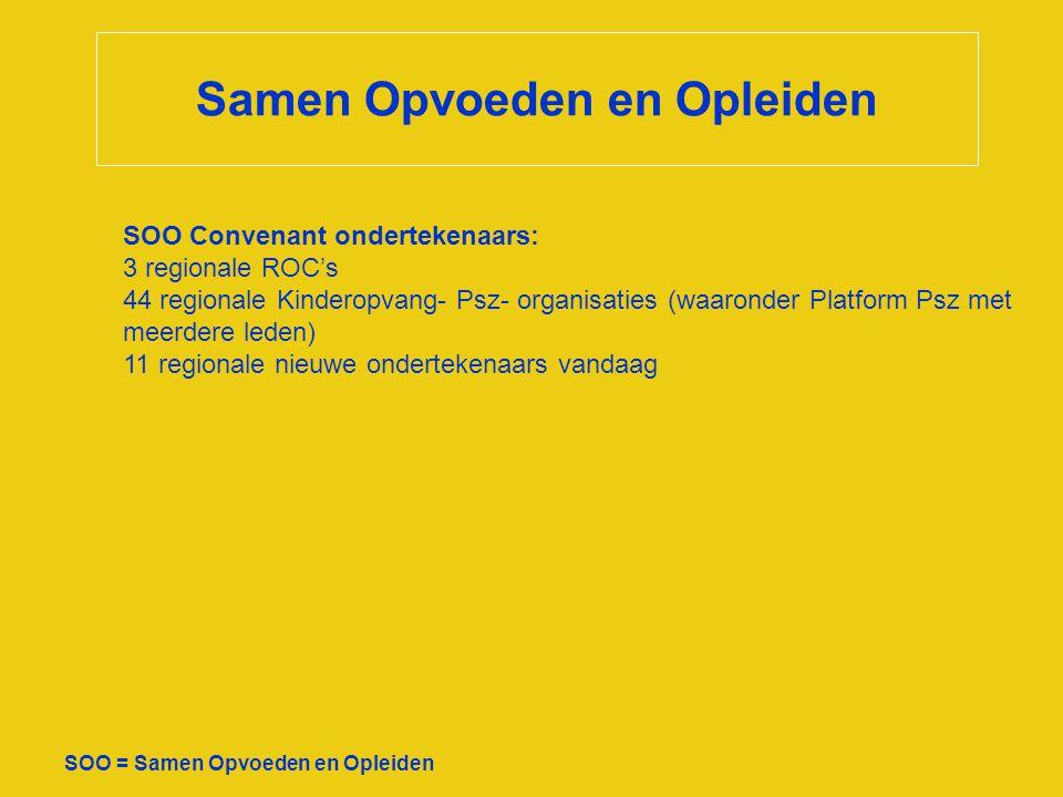 Samen Opvoeden en Opleiden SOO = Samen Opvoeden en Opleiden SOO Convenant ondertekenaars: 3 regionale ROC's 44 regionale Kinderopvang- Psz- organisati