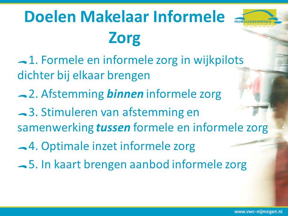 Doelen Makelaar Informele Zorg 1. Formele en informele zorg in wijkpilots dichter bij elkaar brengen 2. Afstemming binnen informele zorg 3. Stimuleren