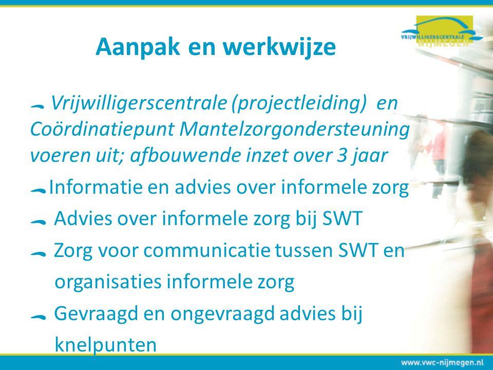 Aanpak en werkwijze Vrijwilligerscentrale (projectleiding) en Coördinatiepunt Mantelzorgondersteuning voeren uit; afbouwende inzet over 3 jaar Informa