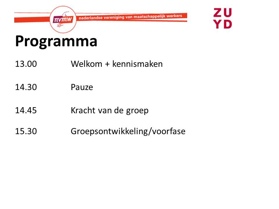 Programma 13.00Welkom + kennismaken 14.30 Pauze 14.45Kracht van de groep 15.30Groepsontwikkeling/voorfase