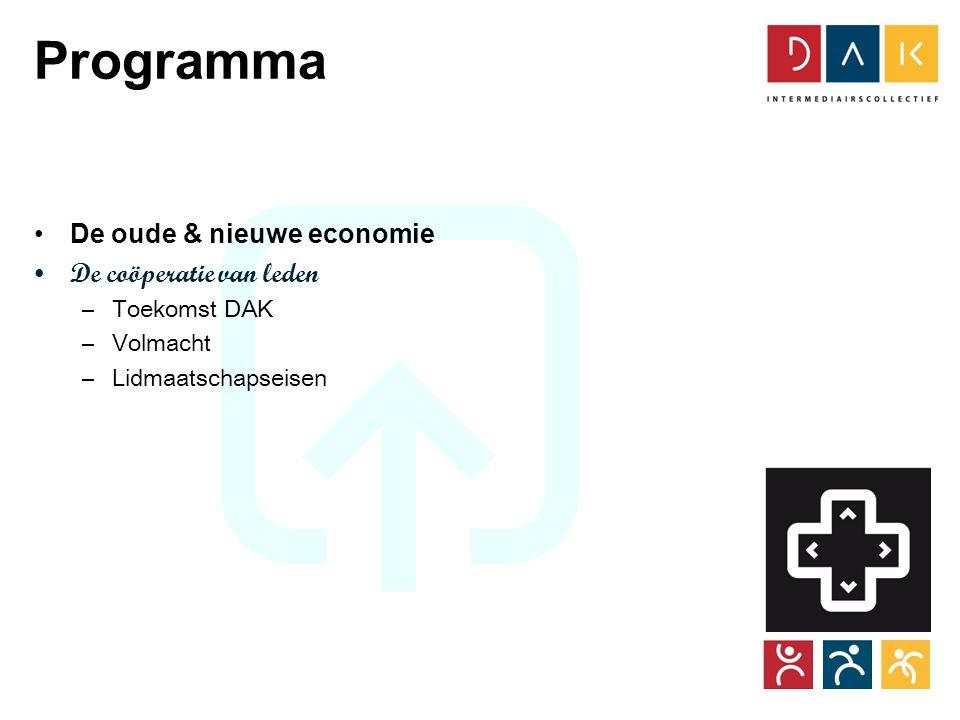 Tour CoöperActief Programma •De oude & nieuwe economie •De coöperatie van leden –Toekomst DAK –Volmacht –Lidmaatschapseisen